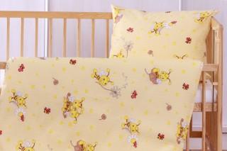 Krepové dětské povlečení do postýlky - čmeláčci žlutí 135x90/60x45 cm