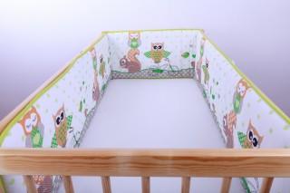 Mantinel - nárazníček dětský do postýlky 3 strany /sova a veverka zelená