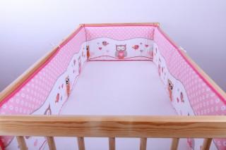 Mantinel - nárazníček dětský do postýlky 3 strany /sova růžová