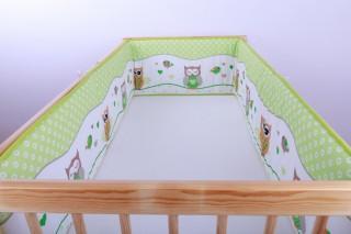 Mantinel - nárazníček dětský do postýlky 3 strany /sova zelená