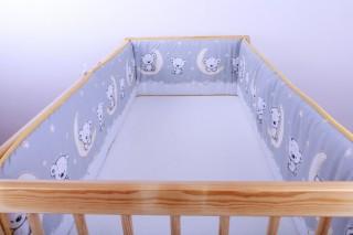 Mantinel - nárazníček dětský do postýlky 3 strany /medvídek na měsíci malý