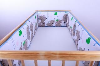 Mantinel - nárazníček dětský do postýlky 3 strany /slůně modré velké