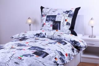 Bavlněné povlečení - noviny s barevnými vlajky