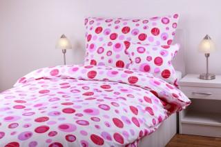 Bavlněné povlečení kombinace - kroužky růžové