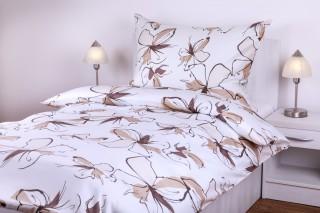 Flanelové povlečení - motýlí kytka hnědo/béžová