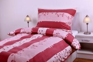 Flanelové povlečení - růžovo/bordové lupínka a pruhy