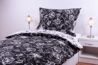 Bavlněné povlečení - tulipán kombinace černá/bílá