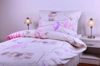 Povlečení bavlna - zvířátka s hvězdičkami růžové