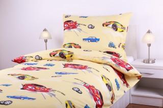 Bavlněné povlečení - auta žlutá