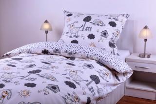Bavlněné povlečení kombinace - pes s boudou/šedý puntík