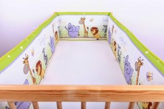 Mantinel - nárazníček dětský do postýlky 3 strany/safari zelené