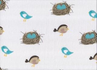 Plena látková 70x70 cm, 5ks/bal - potisk ptáci s hnízdem