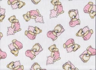 Plena látková 70x70 cm, 5ks/bal, potisk medvídek na růžovém polštářku