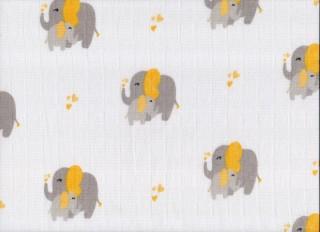Plena látková 70x70 cm - potisk žlutí sloni 5 ks/bal.