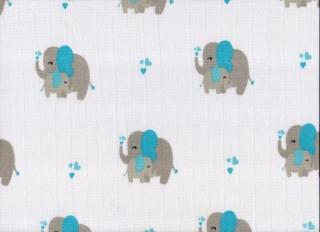 Plena látková 70x70 cm, potisk sloni modří 5 ks/bal.