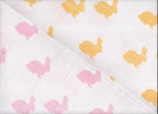 Plenková tetra osuška 2 ks, 90x100 potisk růž. zajíc + žlutý zajíc