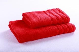 Bambusový ručník - pruhy - 50x100 cm, gramáž 550g/m2 - červená