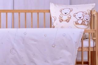 Dětské povlečení do postýlky 60x45cm/135x90 cm - medvídek na měsíci béžový