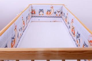 Mantinel - nárazníček dětský do postýlky 3 strany - sova na měsíci oranžová/malá
