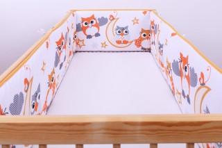Mantinel - nárazníček dětský do postýlky 3 strany - sova na měsíci oranžová/velká