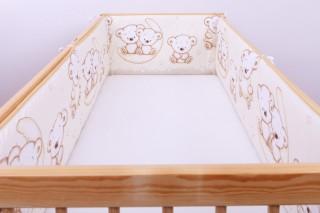 Mantinel - nárazníček dětský do postýlky 3 strany - medvídek na měsíci béžový/velký