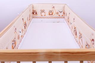 Mantinel - nárazníček dětský do postýlky 3 strany - sova na měsíci hnědá/malá