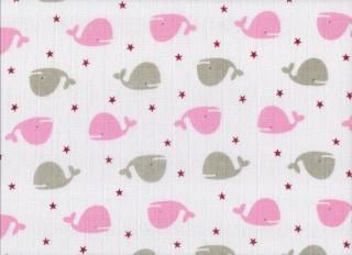Plenková osuška tetra 1 ks 90x100 cm potisk velryby růžové
