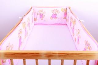 Mantinel - nárazníček dětský do postýlky 3 strany /medvídci v kalhotách růžoví
