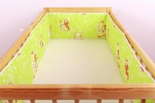 Mantinel - nárazníček dětský do postýlky 3 strany /pejsek zelený