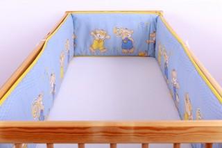 Mantinel - nárazníček dětský do postýlky 3 strany /medvídci v kalhotkách modří
